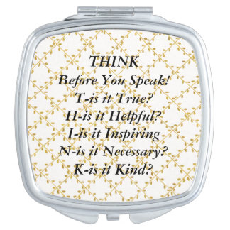 THINK Saying Gold Vines Compact Mirror
