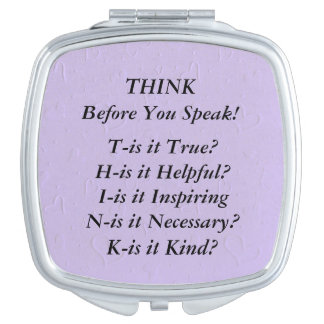 THINK Saying Hearts on Lavender Compact Mirror
