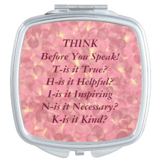 THINK Saying Pink Pastel Blossoms Compact Mirror
