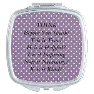 THINK Saying Purple Swiss Dot Compact Mirror