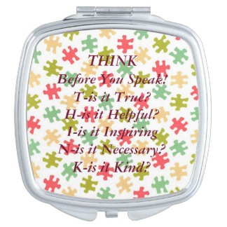 THINK Saying Puzzle Pieces Compact Mirror