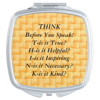 THINK Saying Yellow Basket Weave Compact Mirror