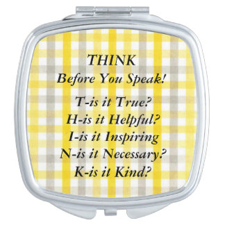 THINK Saying Yellow Gingham Compact Mirror