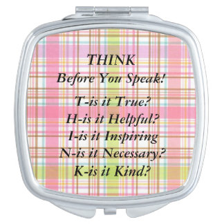 THINK Saying Yellow  Pink Gingham Compact Mirror