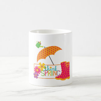 Think Spring Galoshes Flowers Umbrella Coffee Mug