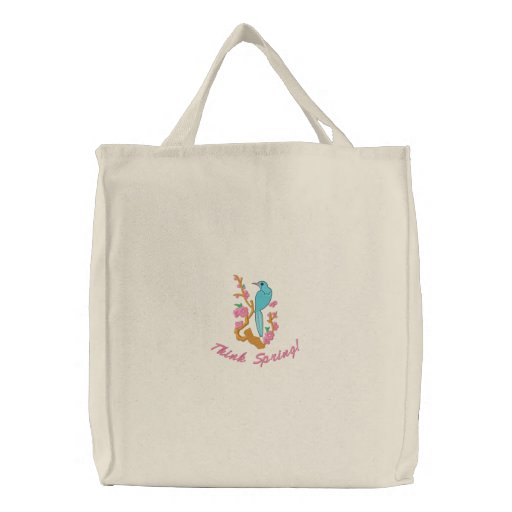 Think Spring Pretty Bird Illustration Tote Bag