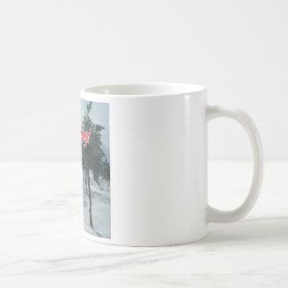 think spring with snowman basic white mug