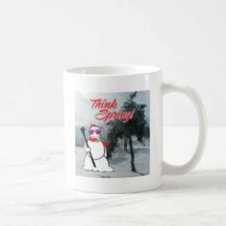 think spring with snowman mug