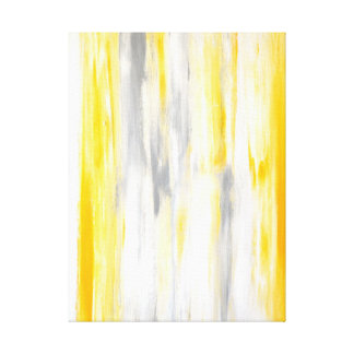 'Think Straight' Grey and Yellow Abstract Print Gallery Wrap Canvas