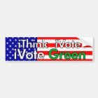 Think Vote Green Bumper Sticker