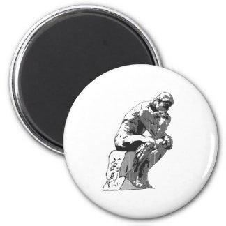 thinker 6 cm round magnet