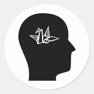 Thinking About Origami Round Sticker