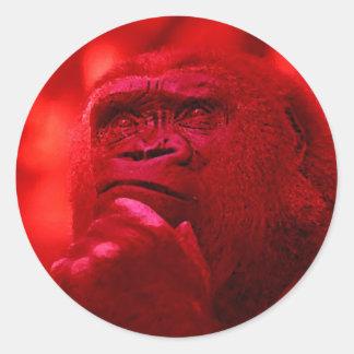 Thinking Gorilla Round Stickers