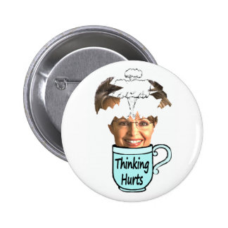 thinking hurts 6 cm round badge