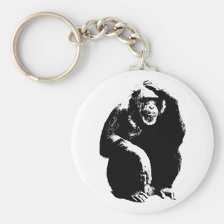 Thinking Monkey Basic Round Button Key Ring