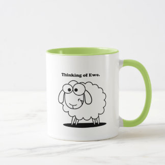 Thinking of Ewe Lamb Sheep Cute Cartoon Mug