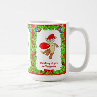 Thinking of you at Christmas, Santa cat Basic White Mug