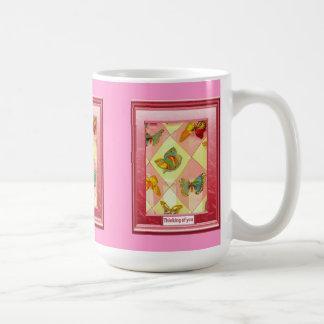 Thinking of you, Butterfly diamonds Basic White Mug