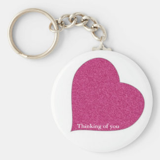 Thinking of you button keychain