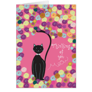 Thinking of you card black cat with yarns