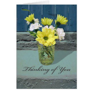 Thinking of You, Carnations and Daisies in Jar Card