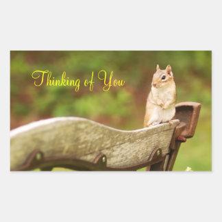 Thinking of You Chipmunk Rectangular Sticker