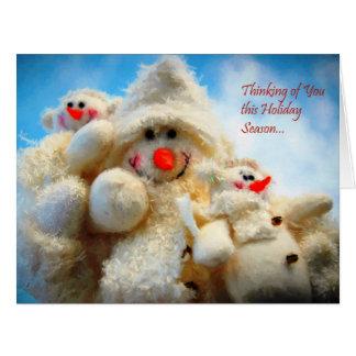 Thinking of You Christmas Snowman Big Greeting Card