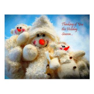 Thinking of You Christmas Snowman Postcard