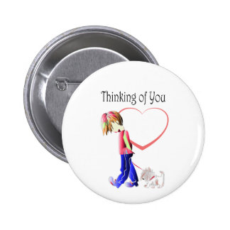 Thinking of You, Cute Boy and Dog Art 6 Cm Round Badge