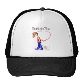 Thinking of You, Cute Boy and Dog Art Cap