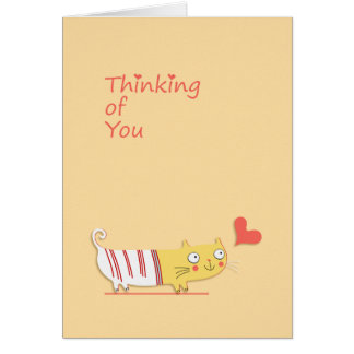 Thinking of You, Cute Cat, Heart Greeting Card