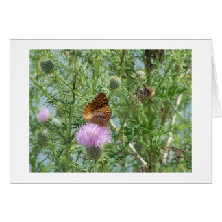 Thinking of You, Friend,Butterfly & Thistle Flower Card