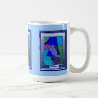 Thinking of you, Geometric blue Basic White Mug