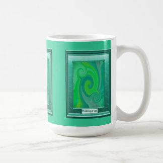 Thinking of you, Green swirl Basic White Mug