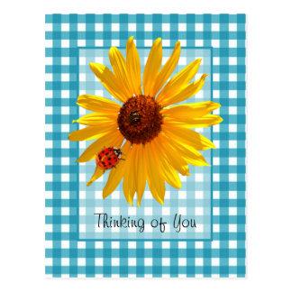 Thinking of You Ladybug On Sunflower Postcard