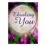 Thinking of You Purple Pink Clematis Flowers Greeting Card