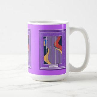 Thinking of you, Purple river Basic White Mug