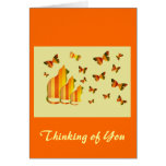 Thinking of You, Striped Cats & Butterflies Greeting Cards