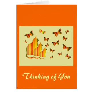 Thinking of You, Striped Cats & Butterflies Greeting Card
