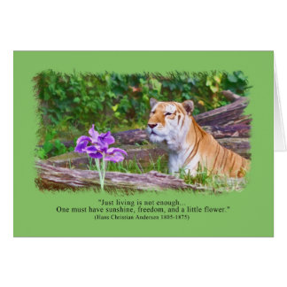 Thinking of You, Tiger Smelling Flowers Greeting Card