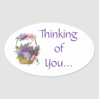 Thinking of You Vintage Purple Lilacs Flowers Oval Sticker