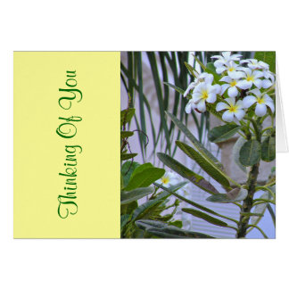 """THINKING OF YOU"", WHITE FLOWERS/YELLOW CENTERS NOTE CARD"