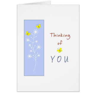 Thinking of You with Yellow Butterflies Greeting Card