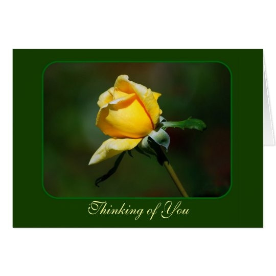 Thinking of You Yellow Rose Bud Card