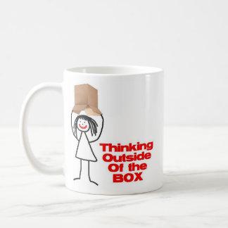 Thinking Outside the Box Cartoon Basic White Mug