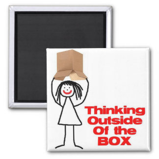 Thinking Outside the Box Cartoon Square Magnet