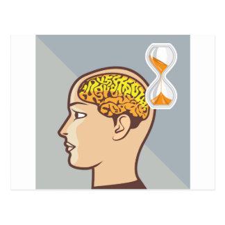 Thinking Process Brain and Sand Clock Postcard