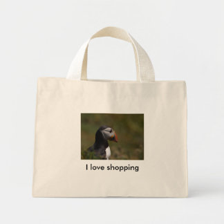 Thinking Puffin, I love shopping Mini Tote Bag