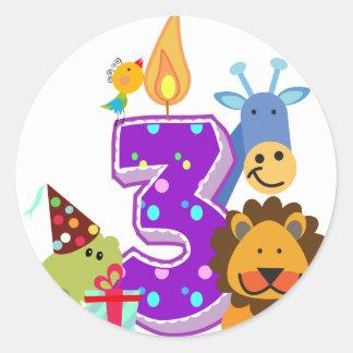 Third birthday Animal friends of the jungle Round Stickers