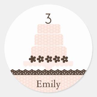 Third Birthday Cupcake Topper/Sticker Round Sticker